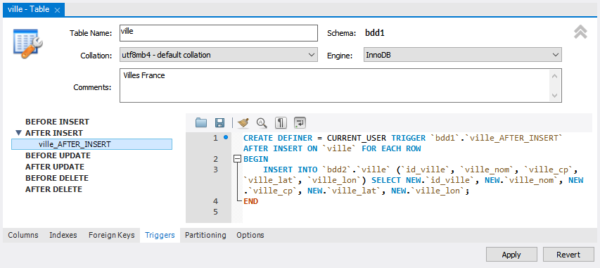 MySQL Workbench : Triggers