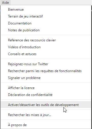 Menu Visual Studio Code, rubrique Aide
