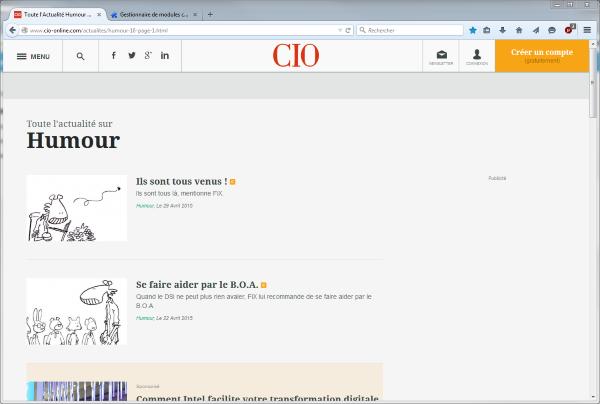 Page web avec bloqueur de nuisances