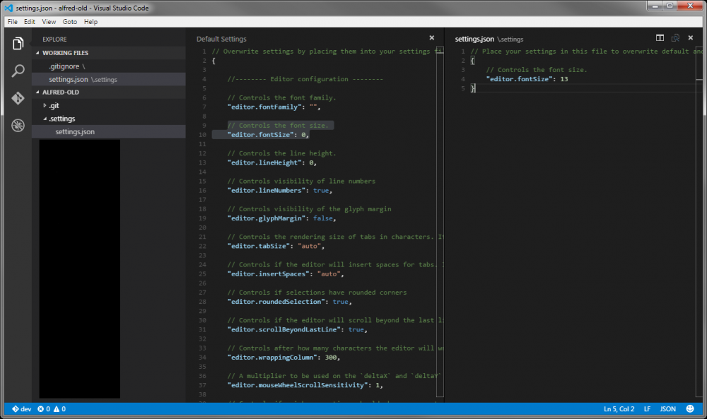 Visual Studio Code - fichier de configurations