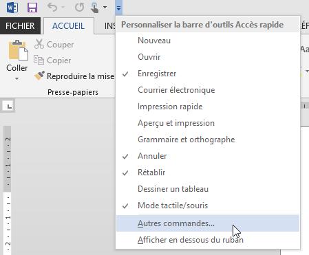 Word 2013 : Personnaliser du ruban