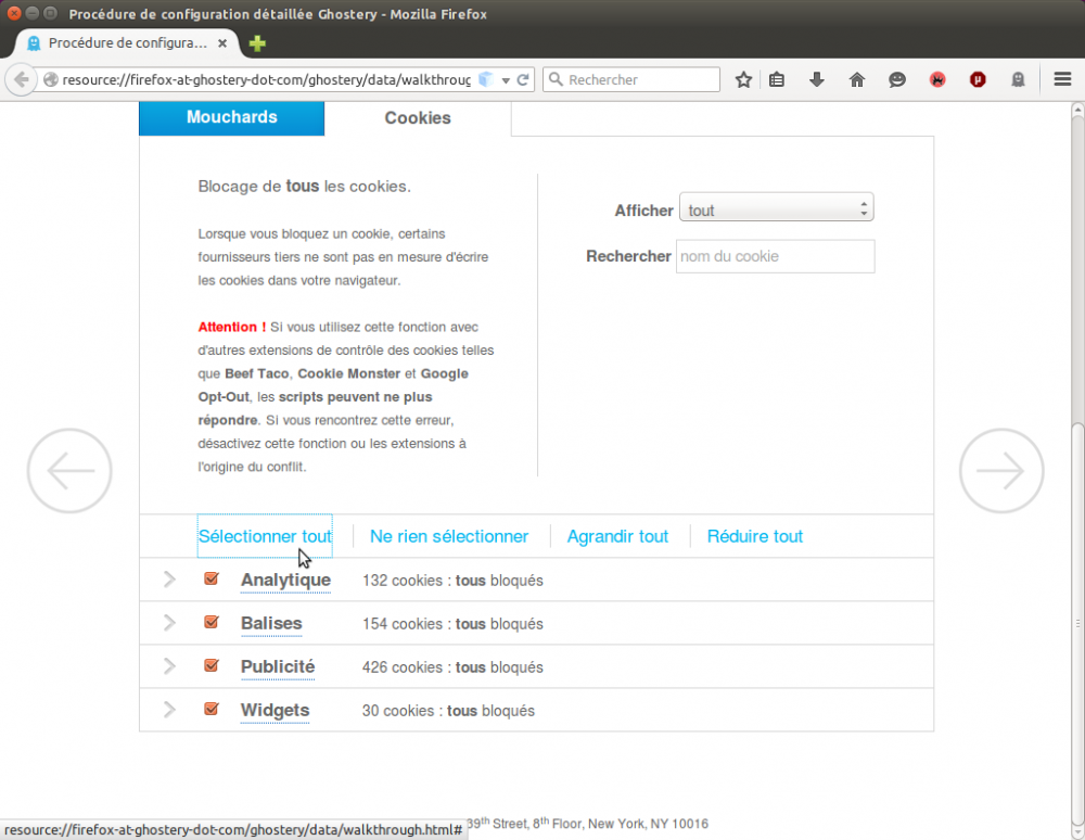 Ghostery config - bloquer les mouchards