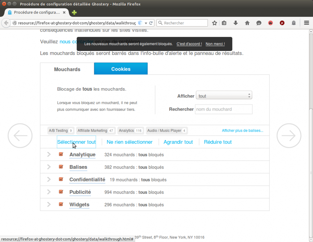 Ghostery config - bloquer les cookies