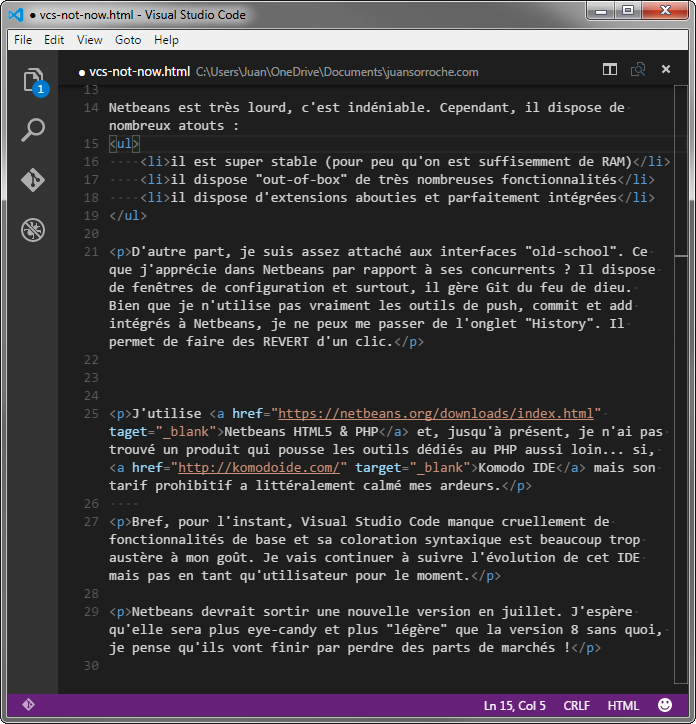 Visual Studio Code austère