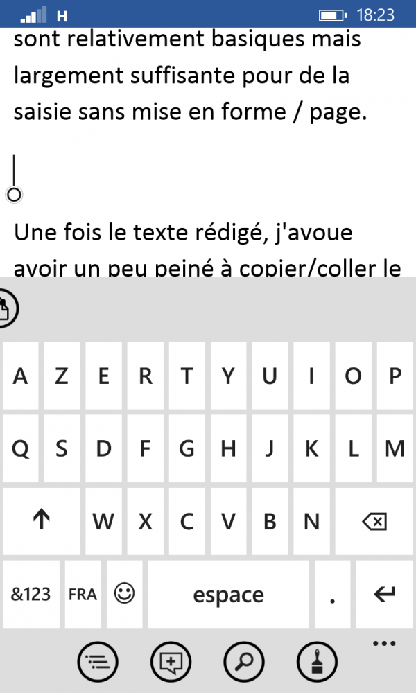Windows Phone - clavier virtuel