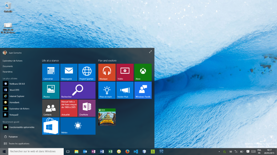 Menu Démarrer Windows 10 Home Insider Preview (build 10074)