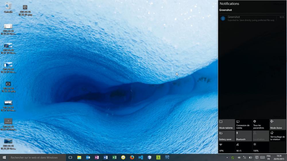 Centre de notifications Windows 10 Home Insider Preview (build 10074)