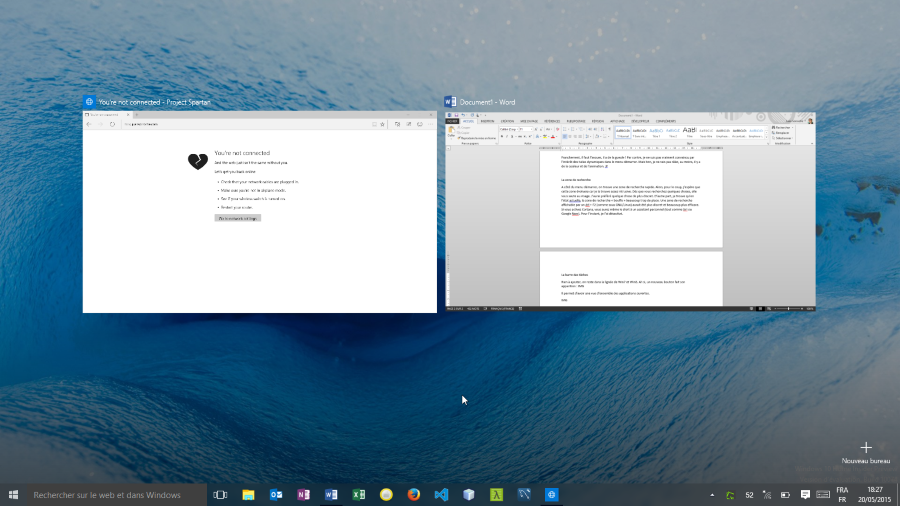Applications ouvertes Windows 10 Home Insider Preview (build 10074)