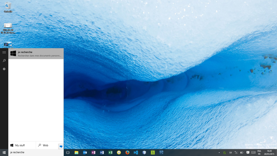 Zone de recherche Windows 10 Home Insider Preview (build 10074)