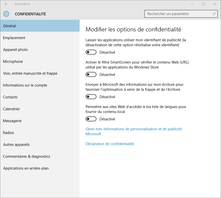 Windows 10 : paramètres de confidentialité