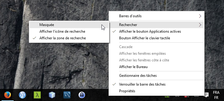 Windows 10 : option de la zone de Recherche