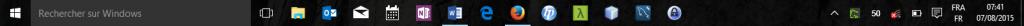 Windows 10 : barre des tâches avec zone de recherche