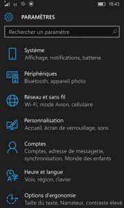 Windows 10 Mobile Paramètres