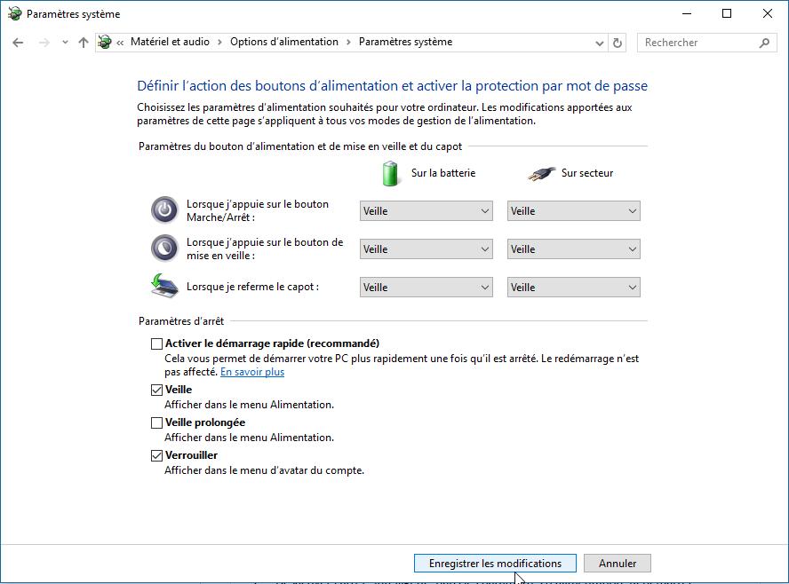Windows désactiver démarrage rapide