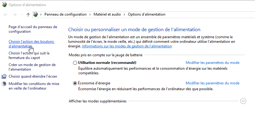 Windows options d'alimentation