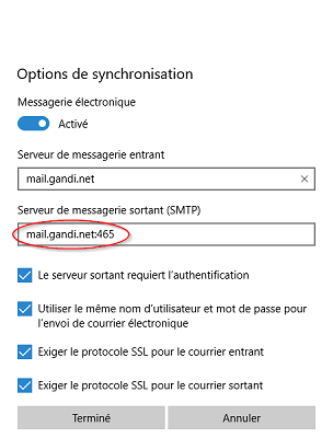 Configuration Windows 10 Courrier