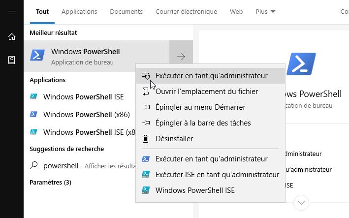 Ouvrir PowerShell en tant qu'administrateur